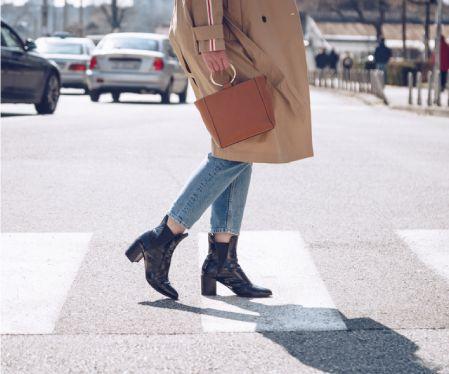 Woman Walking In The Street | Women Fashion | Black Boots | Tan Jacket | Purse | Pedestrian Crossing | Street Fashion