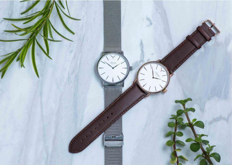 Silver Mesh Watch | Brown Leather Watch | Men's Watches | Swiss Movement Watch | Quality Watches | Pointaro Geneva