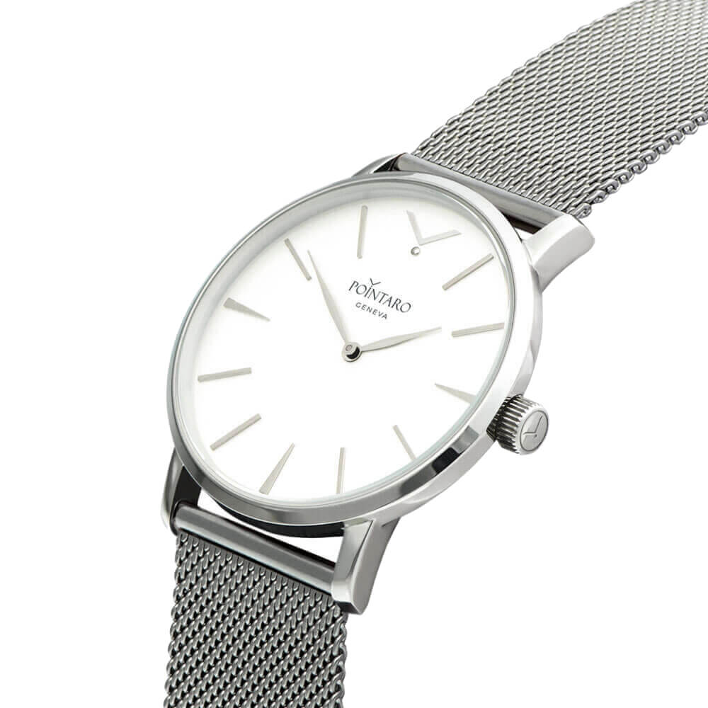 Silver And White Watch - Silver Case - White Face - Silver Mesh Strap - Swiss Watch - Quartz Watch
