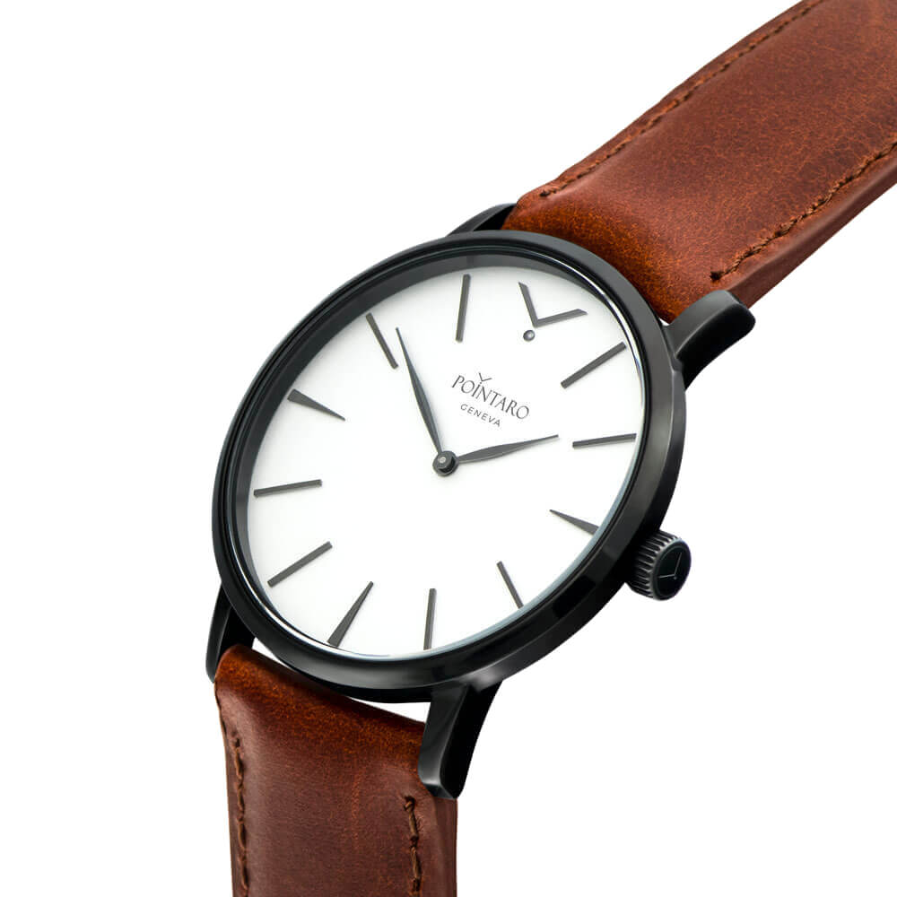 Black And White Swiss Watch- Black Case - White Face -  Light Brown Genuine Leather Strap