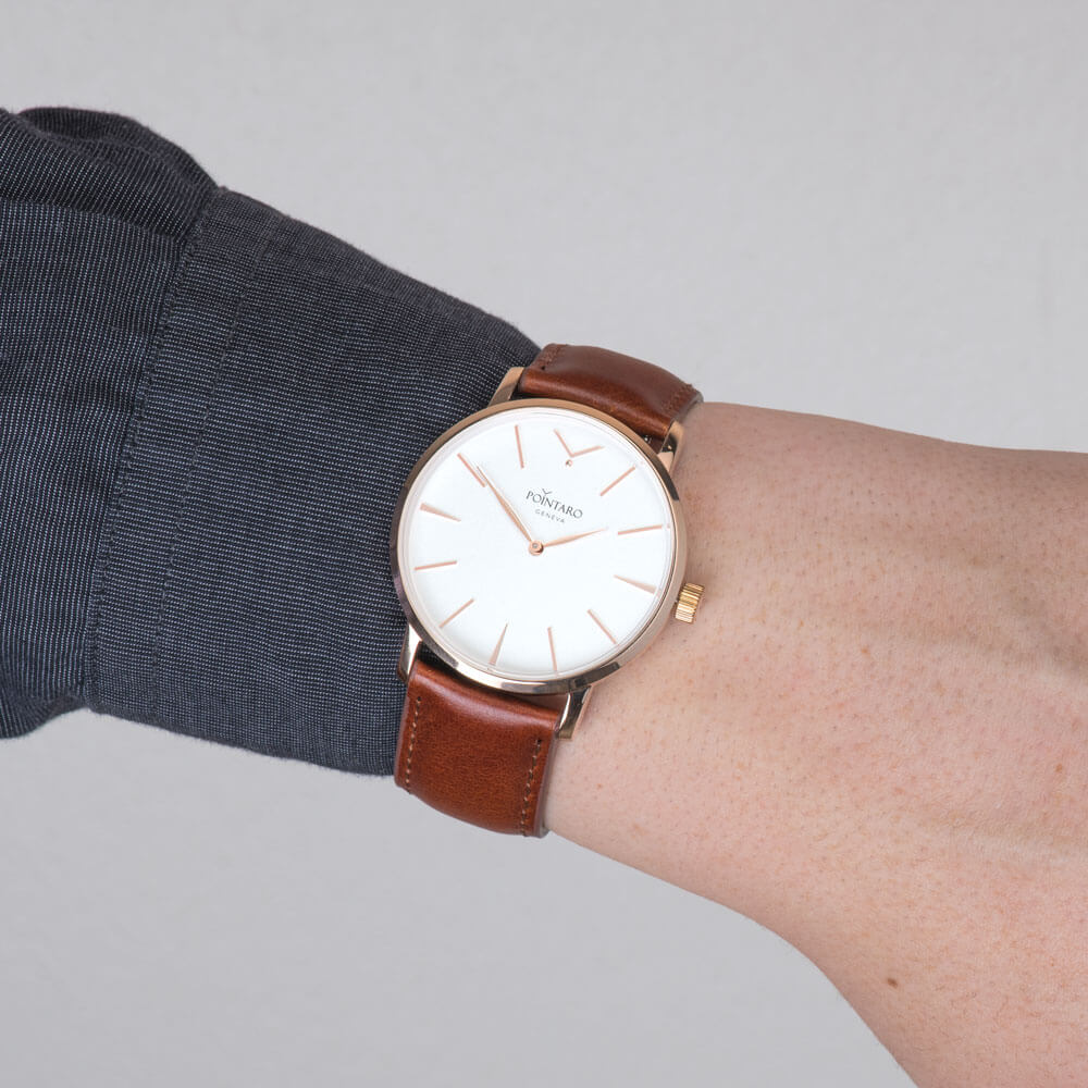 Rose Gold Watch With White Face - Brown Leather Strap Watch- Men's Watch