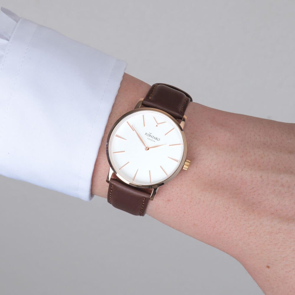 Rose Gold Watch With White Face - Genuine Leather  - Brown Leather Strap - Men's White Face Watch