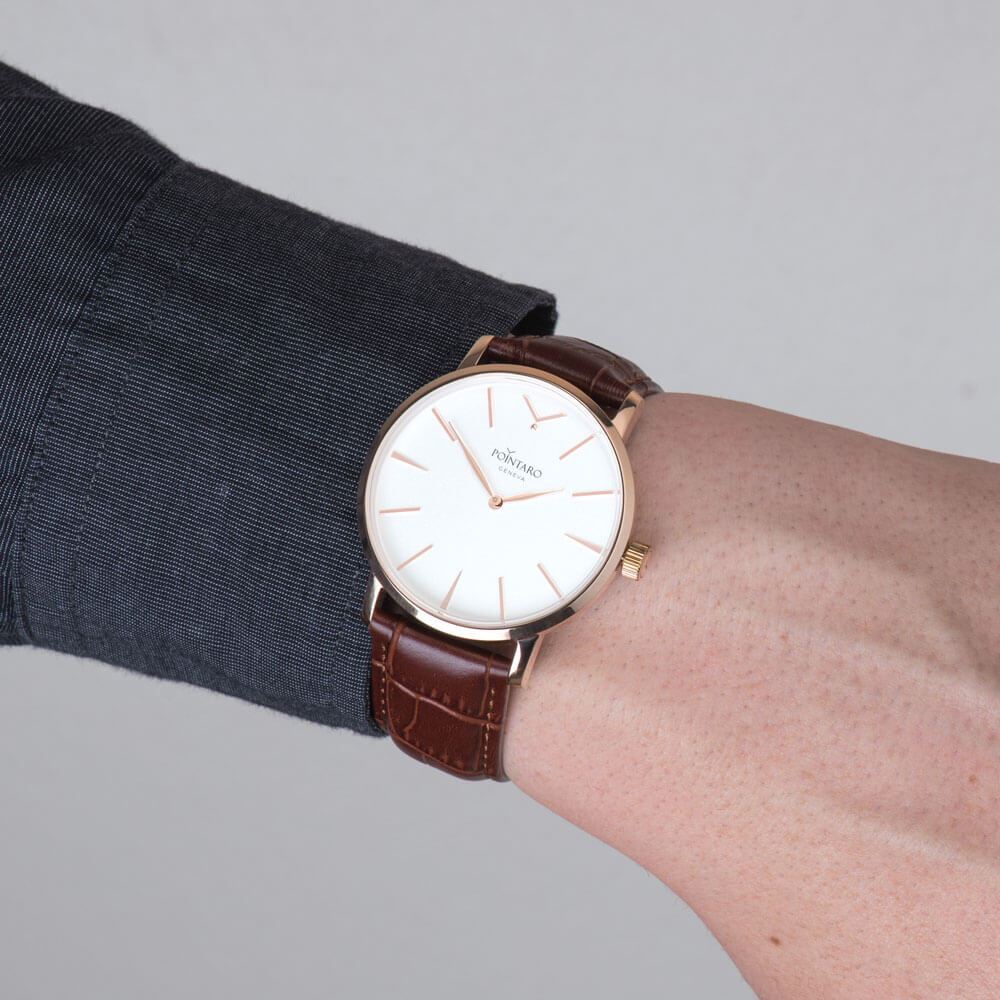 Rose Gold Watch With White Face - Top Grain Genuine Leather - Brown Crocodile Leather Strap