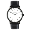 Black And White Watch For Men - Black Case - White Face - Black Genuine Leather Strap - Quartz Watch