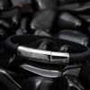 men's rubber bracelet - black and silver rubber bracelet - gents bracelet - wristband