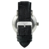 Black and Silver Watch - White Face Watch - Black Crocodile Style Leather Strap - Quartz Watch