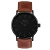 Classic Black Watch - All Black Watch - Black Case Black Dial Watch - Light Brown Genuine Leather Strap