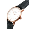 Rose Gold Watch With White Face - Black Crocodile Style Leather Strap - Men's Watch