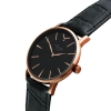 Black And Rose Gold Watch - Black Crocodile Style Leather Strap - Black Face - Rose Gold Case