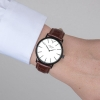 Black And Silver Watch - Men's Watch - Crocodile Leather Strap - Swiss Watch - White Dial Watch