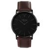 Black Case Watch - Brown Genuine Leather Strap - Swiss Quartz - Men's Black And Brown Watch