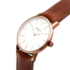 Rose Gold Watch With White Face - Brown Leather Strap Watch - Men's Watch