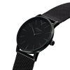 Black Case Black Dial Watch - Mesh Watch Band - Swiss Watch  - Quartz Watch - Black on Black Watch