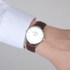 Silver Watch With Brown Leather Strap - Genuine Leather Strap - Quartz Watch - Swiss Watch